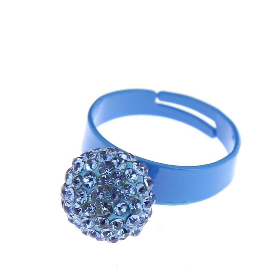 Bague aliiage strass Bleu - 2937-29495