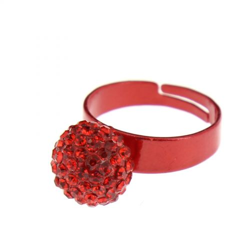 Bague aliiage strass Rouge - 2937-29500