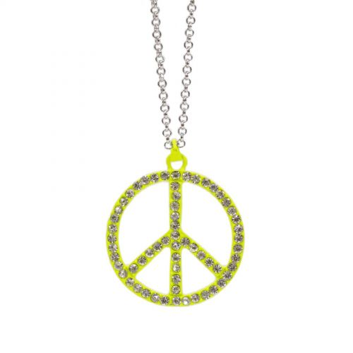 Collier 80 cm, peace and love noir