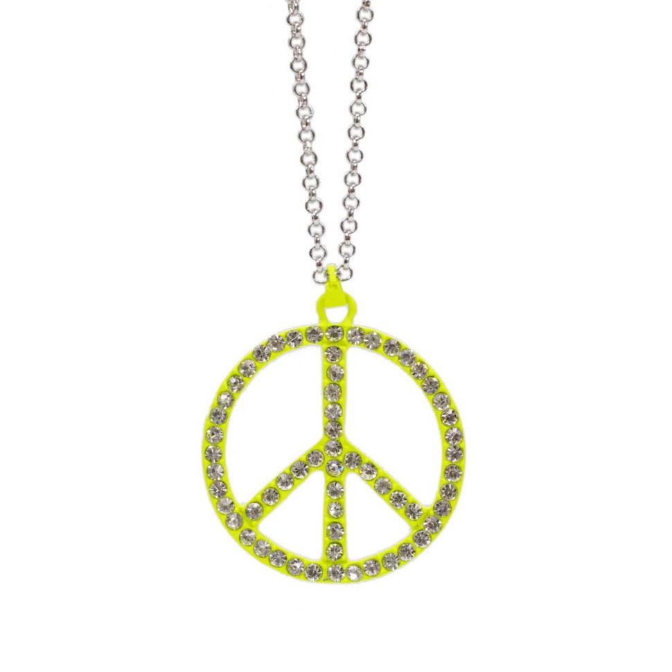 Collier 60 cm, peace and love Jaune Fluo - 3054-29566
