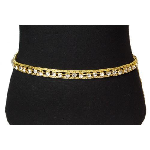 Woman's Lady Fashion Metal Chain Style Belt with strass, AURELIA