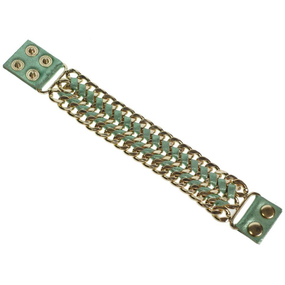 Bracelet similicuir chaines ALARA Vert - 7970-29850