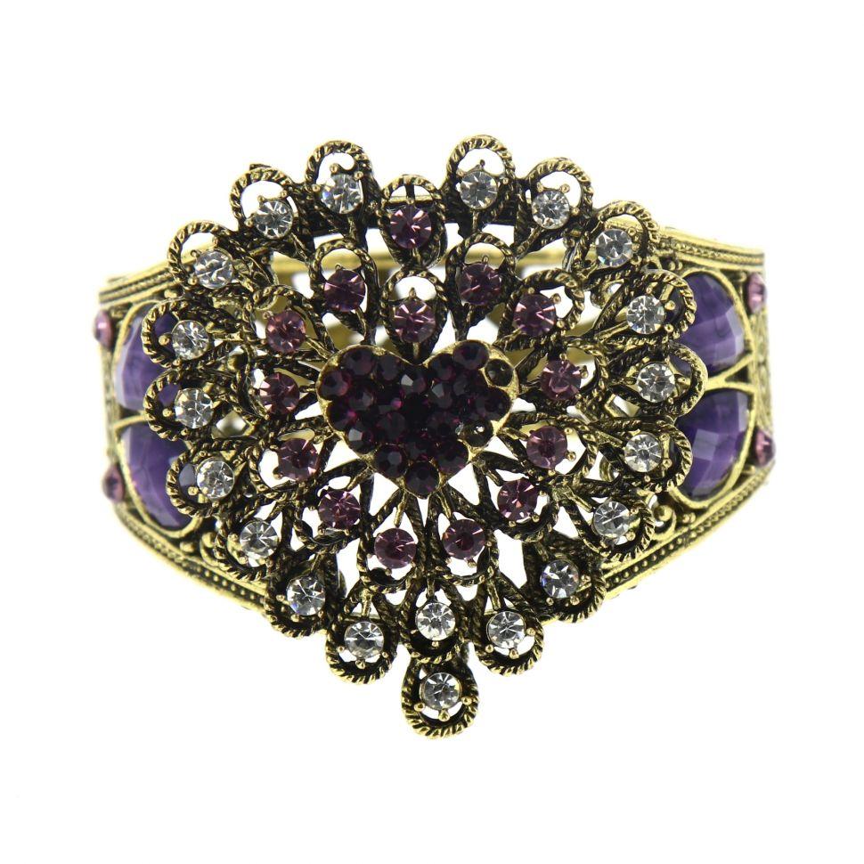 6023 heart rhinestone cuff bracelet