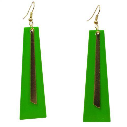 Boucles d'oreilles lamelles coloré, 2062 argent Vert fluo - 2062-30086
