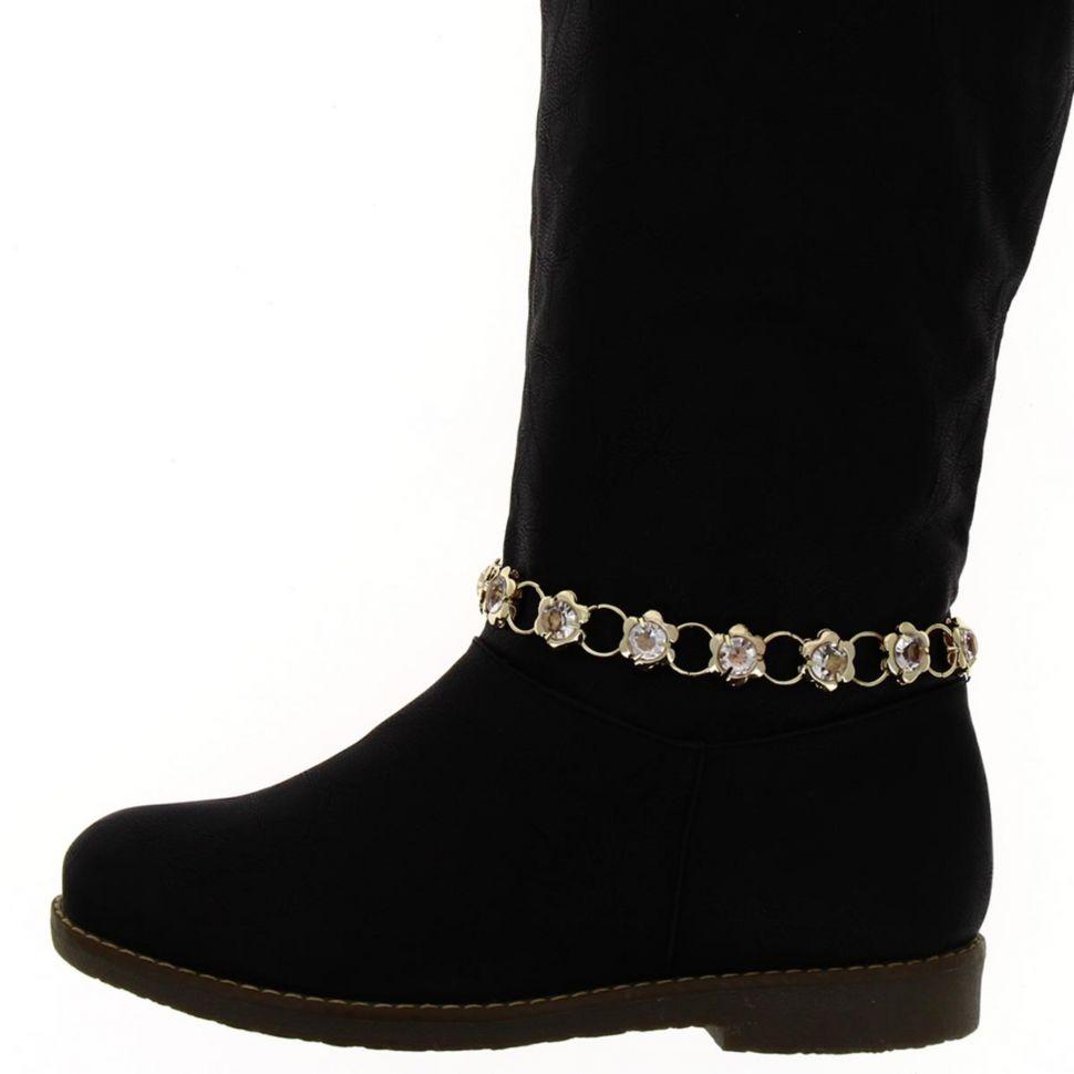 Paire de bijoux de bottes chaines fleur ZIA Doré - 2129-30194