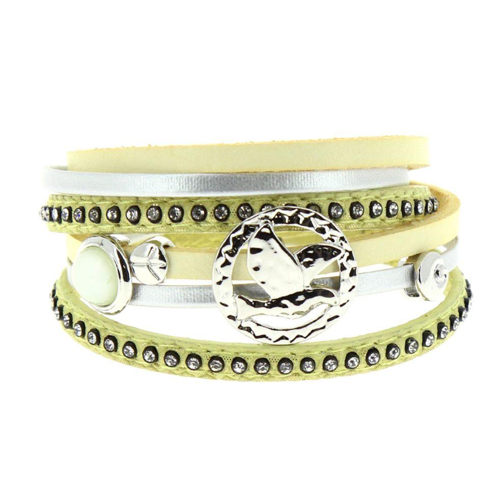 Bracelet double tour cuir peace and love Cassi Jaune - 9442-30439