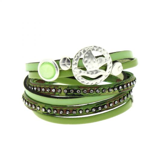 Bracelet double tour cuir peace and love Cassi Vert - 9442-30447
