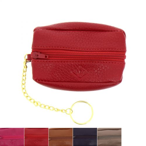 Leather Mini Wallet Holder Zip Coin Purse, CALYSTA