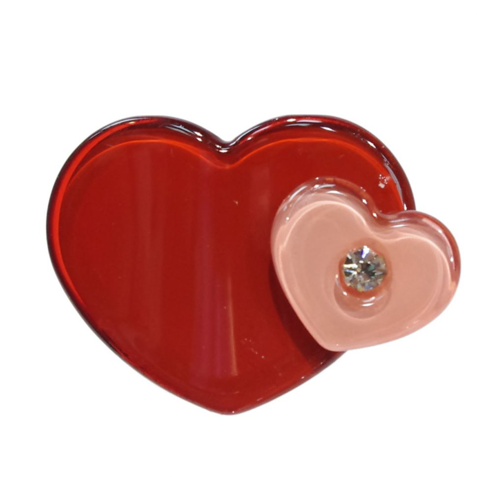 Bague coeur à strass Shirine Rouge - 1701-31439