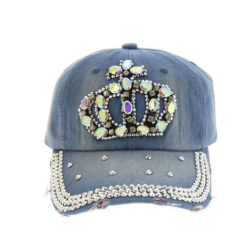 Casquette denim Crown à strass Georgia Bleu délavé - 8115-31494