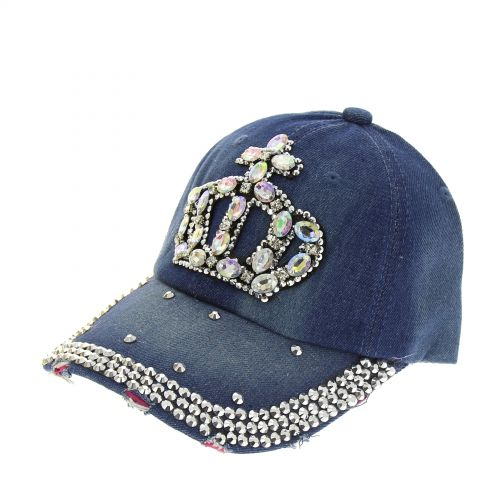 tappo denim Corona con strass Georgia