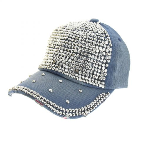 Casquette denim à strass Stellie