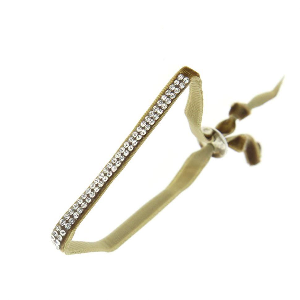Bracelet ruban velour 2 rangées de strass Beige - 4863-32292