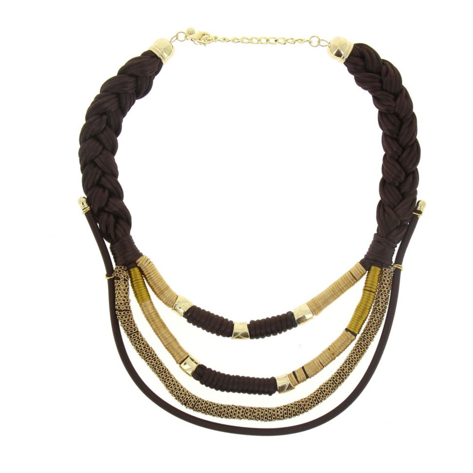 Collier cordons chaine et tresse Eleanore Marron - 5161-32572