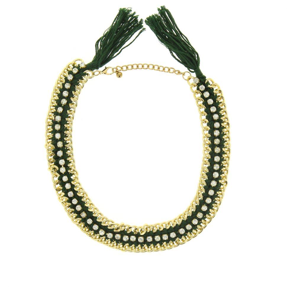 Collier chaine strass Marie-lucienne Vert - 5006-32617