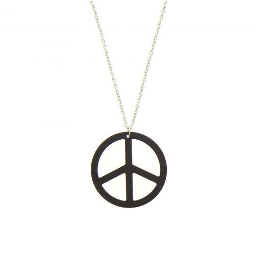 Sautoir acrylique peace and love strass