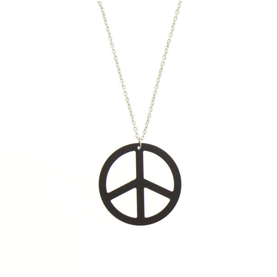 Sautoir acrylique peace and love Noir - 1706-32646