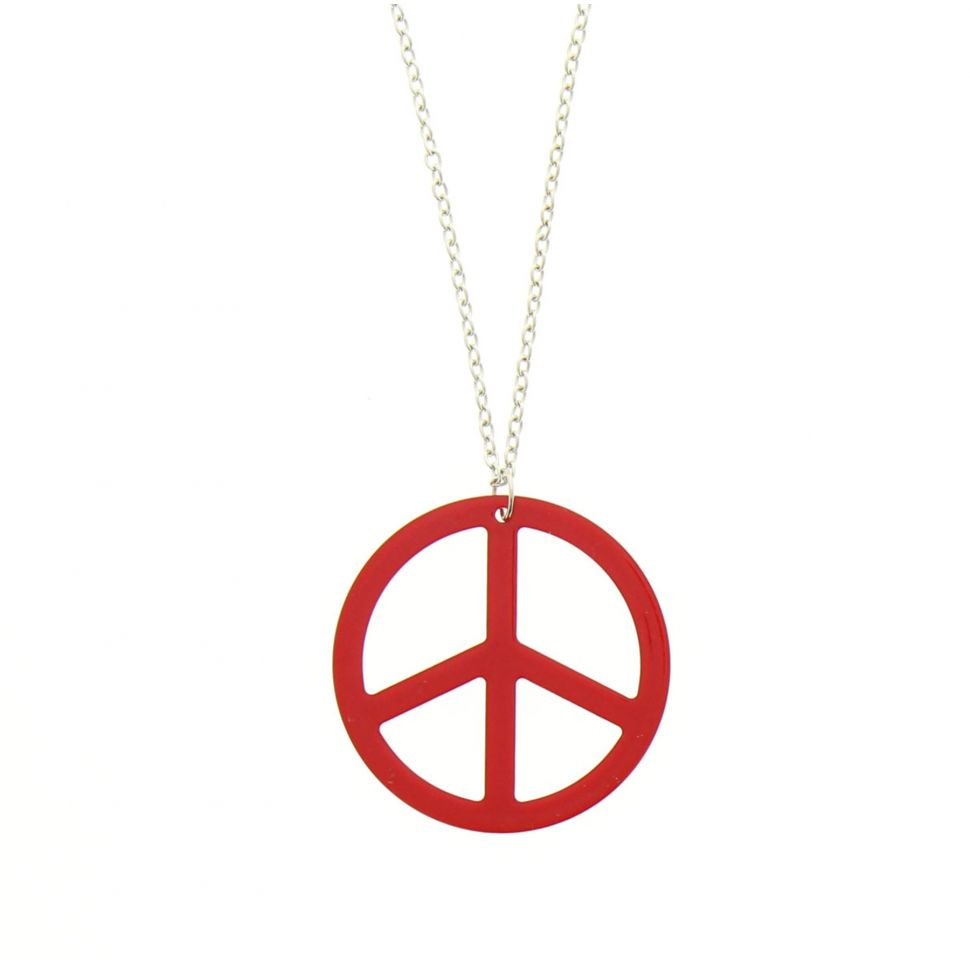 Sautoir acrylique peace and love Rouge - 1706-32650