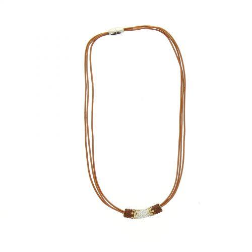 Collier cordons cuir, pendentif strass Zirconia, 3779 MARRON