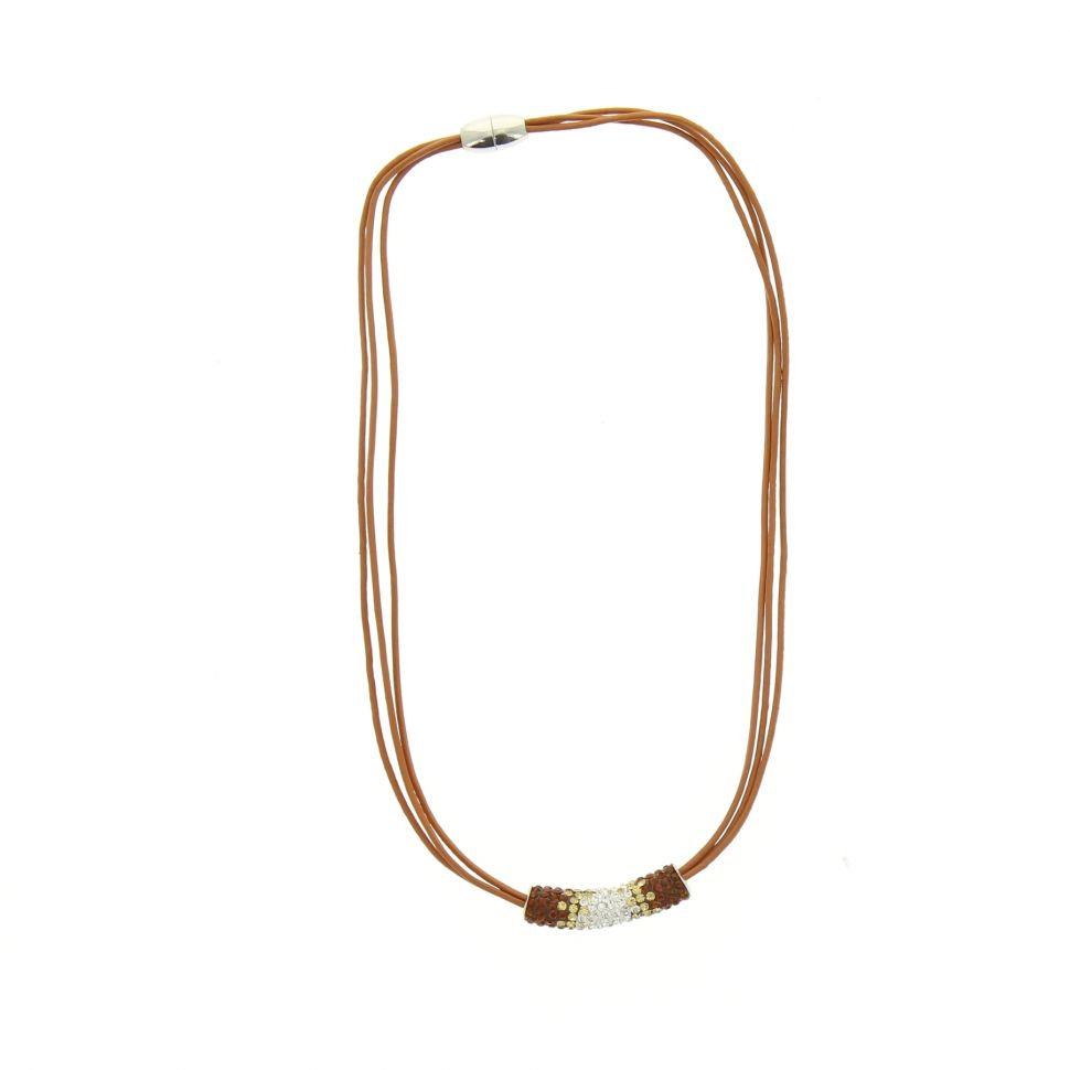 Leather necklace cords, rhinestone pendant Zirconia, 2186 Brown