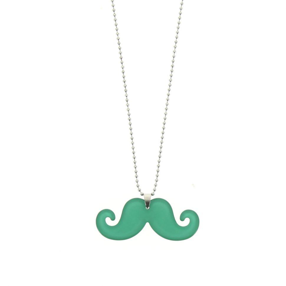 Sautoir acrylique moustache Vert - 5469-32706