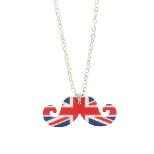 Collana donna lunga baffi acrilico bandiera inglese
