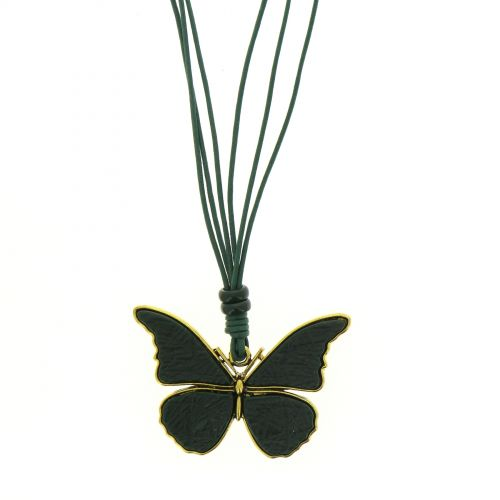 Sautoir cuir à papillon XL
