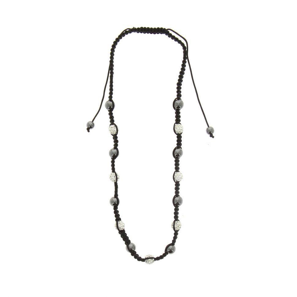 Collier shamballa, AOH-53 Noir (Blanc) - 1524-32878