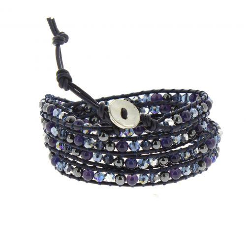 Bracelet cuir chanluu Cristal Chayna Bleu nuit - 9955-32930
