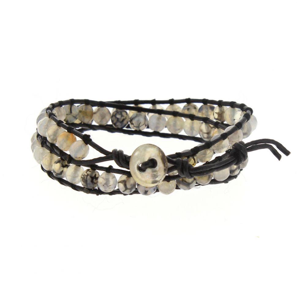 Bracelet double tours à pierre tressés, 2352 Noir (Blanc) - 2354-32939