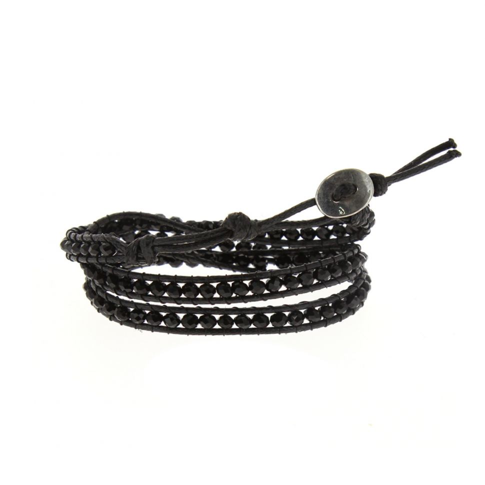 Bracelet ethnique, cristral tressé à cordes Noir - 2051-32947