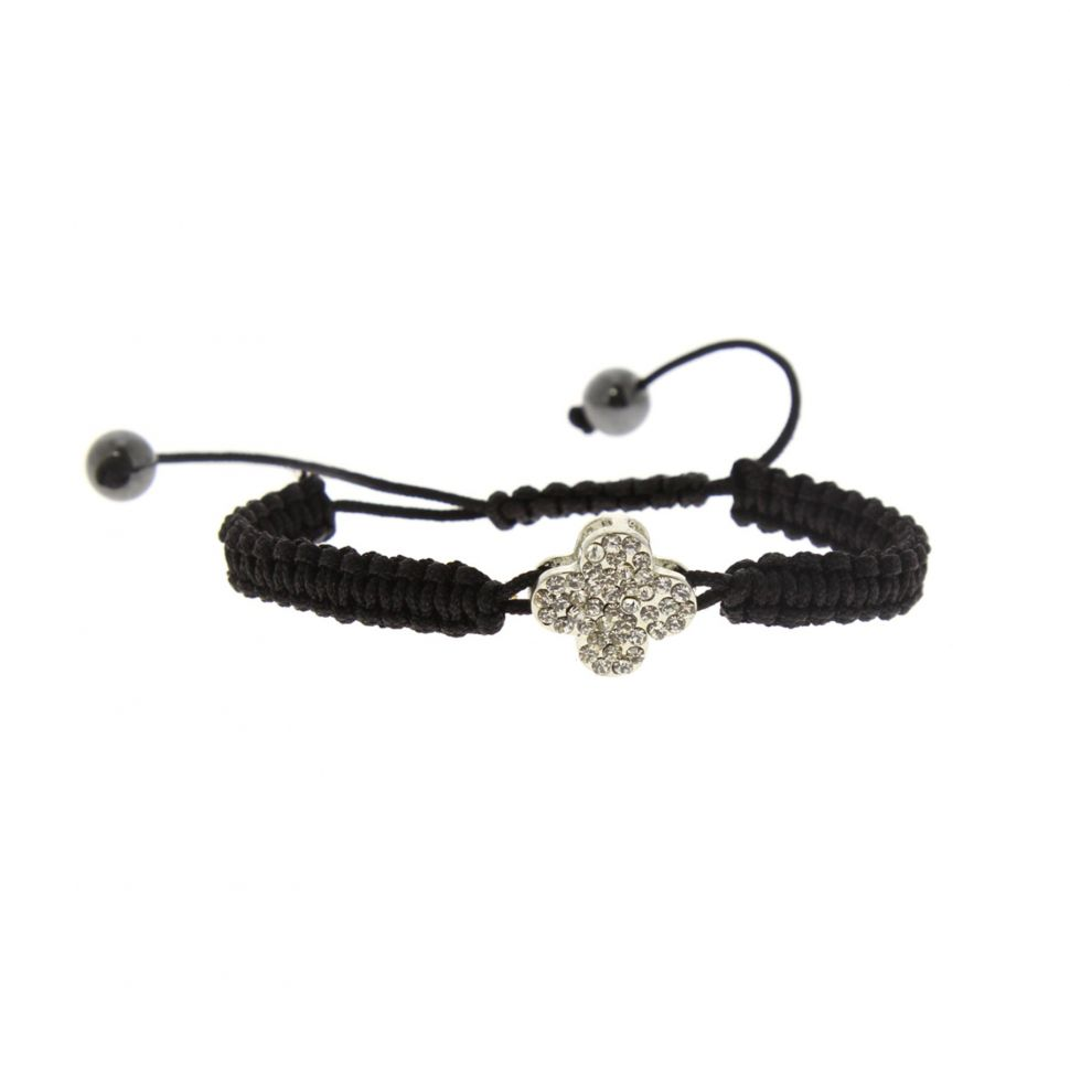 Bracelet shamballa, trèfle à strass