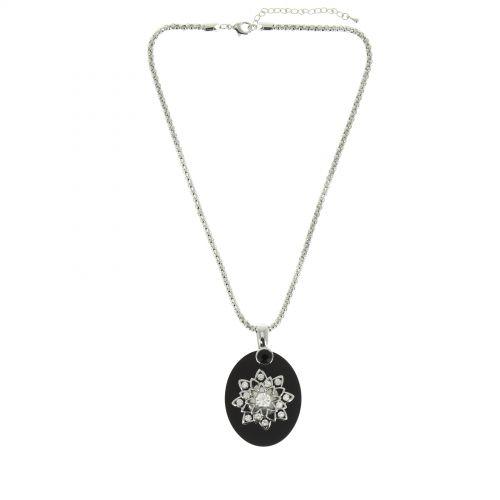 Collier fleur polycarbure noir