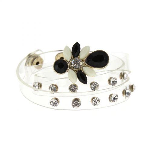 Bracelet 3 tours translucide Fleurs et strass Noir-blanc - 8454-33391