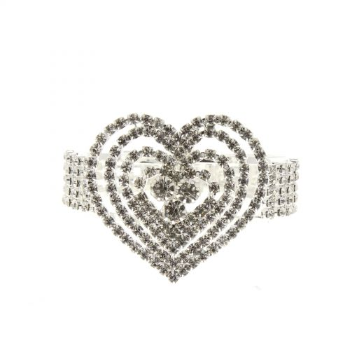 Bracelet manchette strass cœur 6423 Argenté - 6423-33713