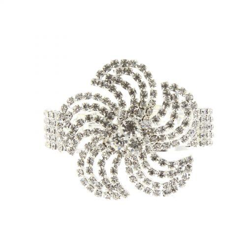 Bracelet manchette fleurs 6439 Argenté - 6440-33725