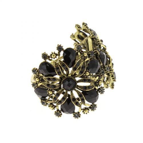 6027 flower rhinestone cuff bracelet