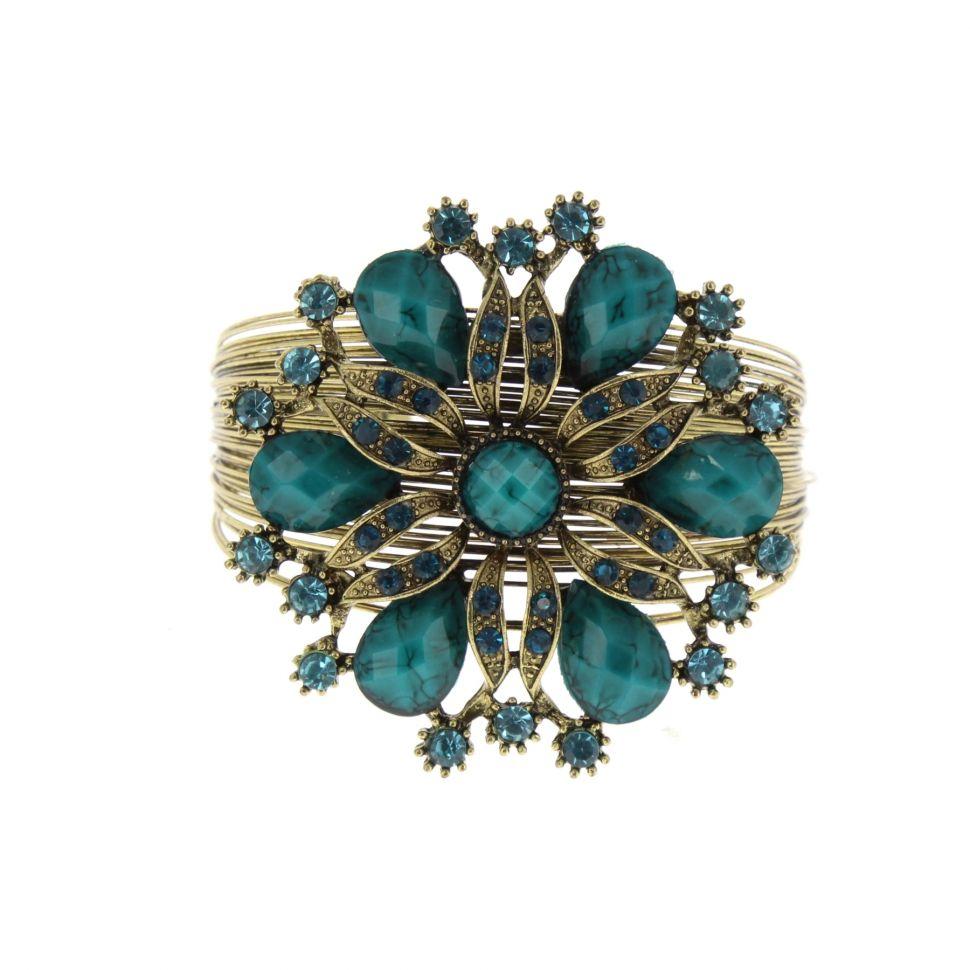 6030 flower rhinestone cuff bracelet