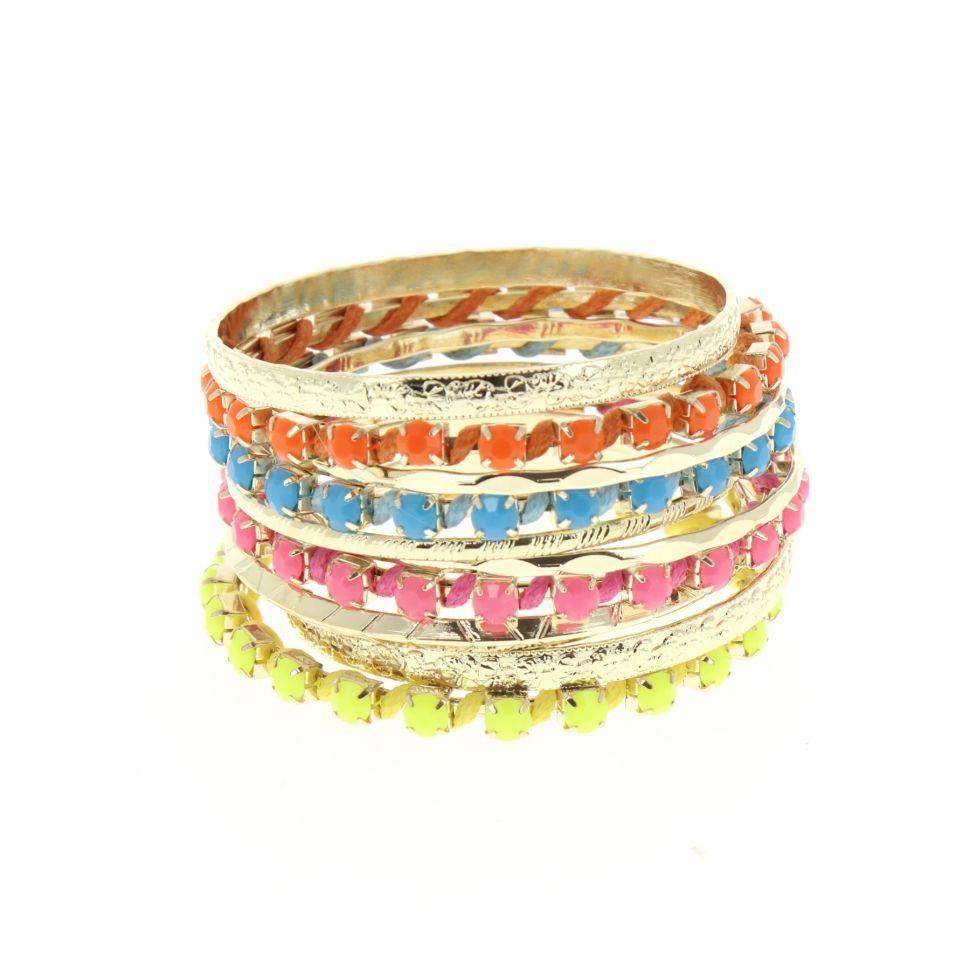 Bracelets 10 bangles Multicouleur - 4956-33773