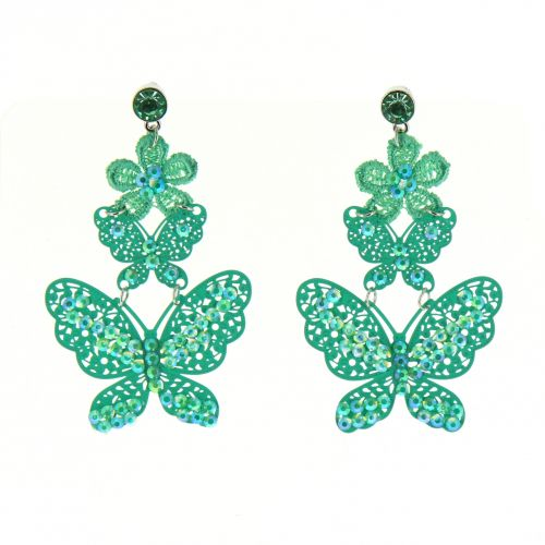 Boucles d'oreilles dentelles Papillon strass