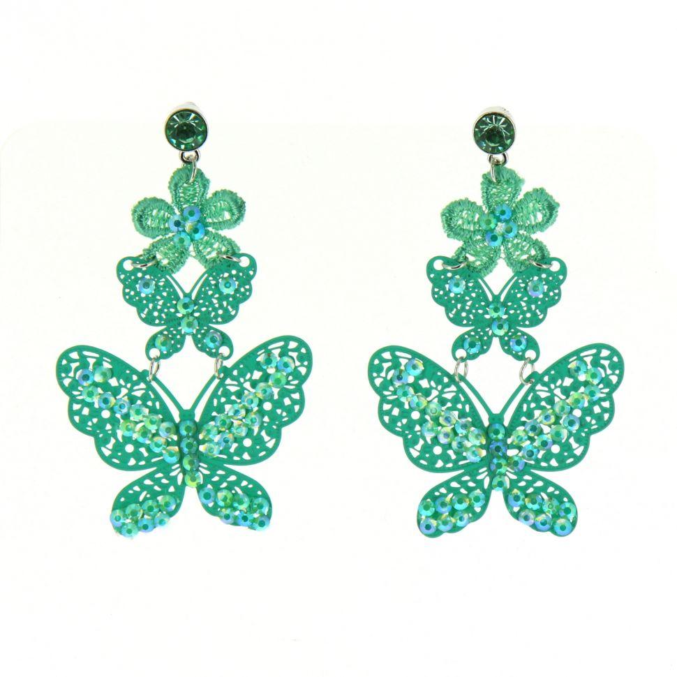 Boucles d'oreilles dentelles Papillon strass Vert - 8015-34216