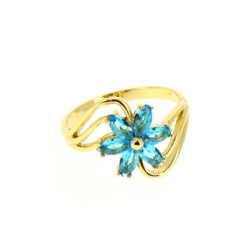 zirconium rhinestone Copper ring golden with gold, CHARLOTTE