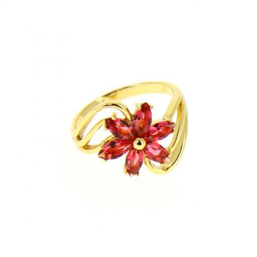 Bague cuivre à strass, cristal de zirconium doré à l'or CHARLOTTE