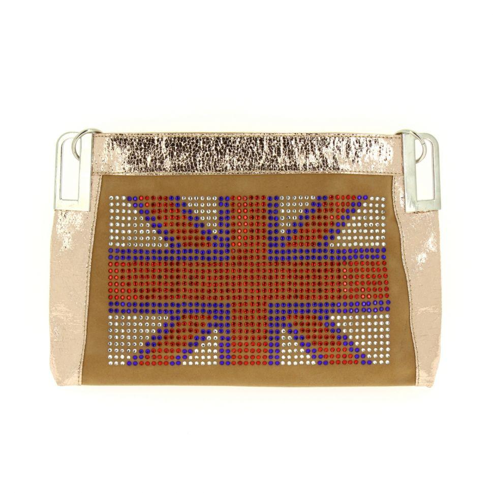 Sac pochette english Flag ANAIS Beige - 10053-34455