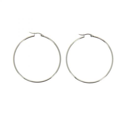 Boucles d'oreilles femme créoles 5.50 mm, Acier inoxydable ROKIA