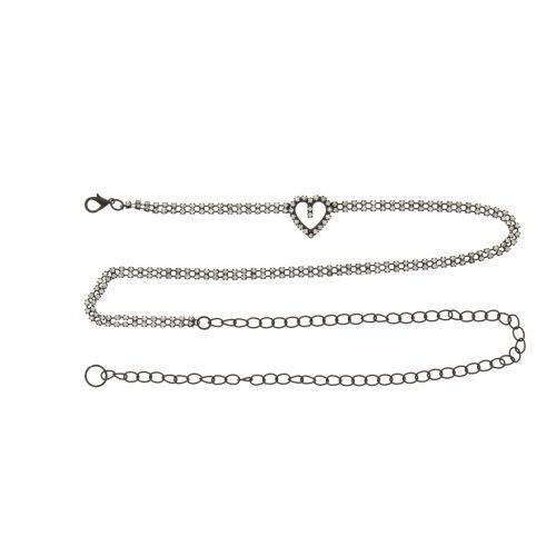 Ceinture chaines strass coeur Noir - 6949-36057