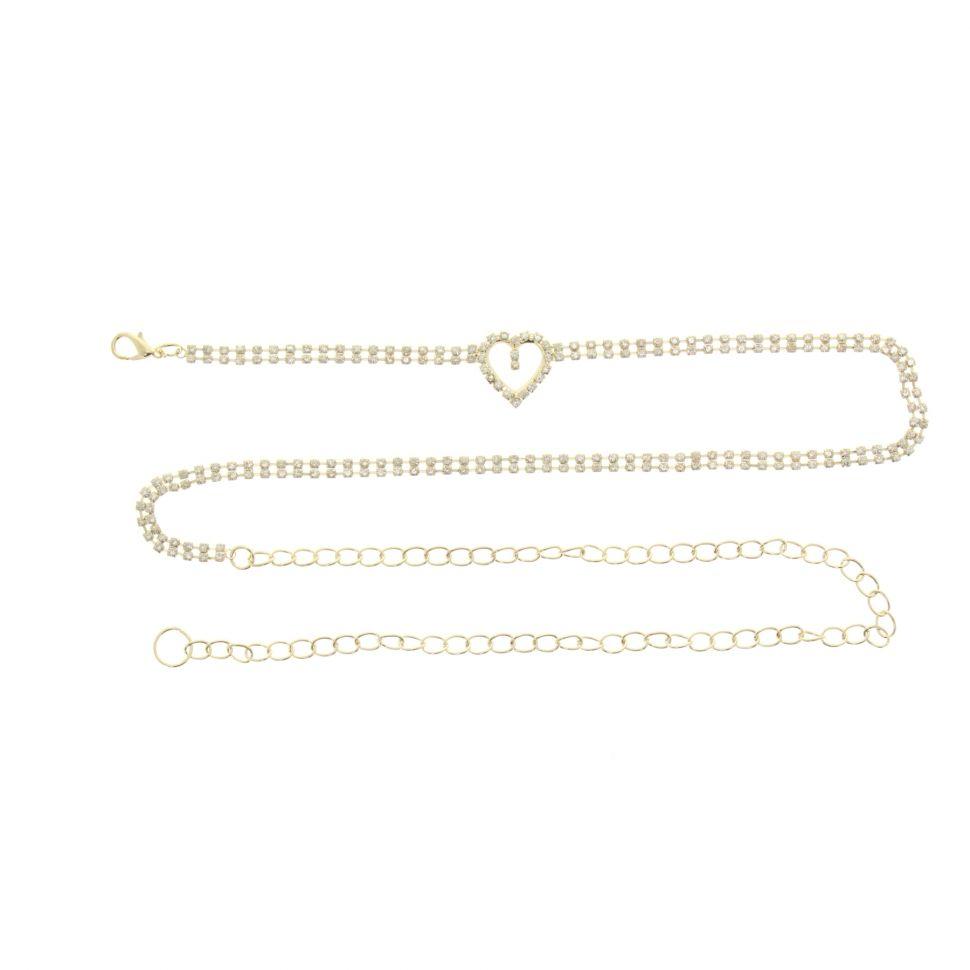 Ceinture chaines strass coeur Doré - 6949-36058
