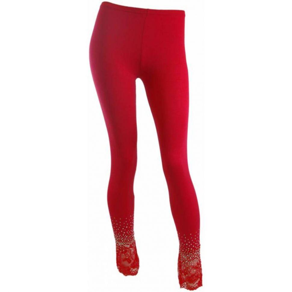Leggings Dentelles et strass Rouge - 5340-36137
