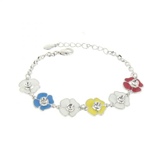 Bracelet Cubic Crystal Zirconia Adjustable Flowers for Women and Girls LIVIA