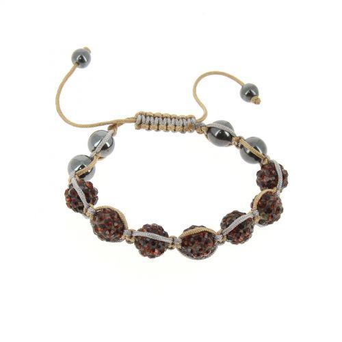 Bracelet Shamballa céramique fil bicolore, AOH-83 Marron - 1739-36146